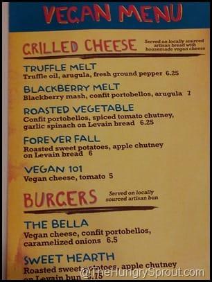 Vegan Menu- Toasted Orlando