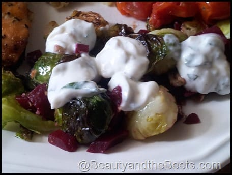Brussel Sprouts with Pecans, Beets and Mint Yogurt