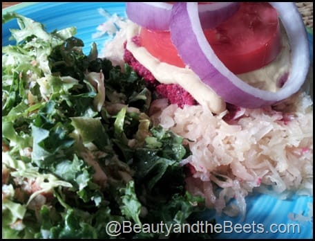 Kale Salad and Beet Burger