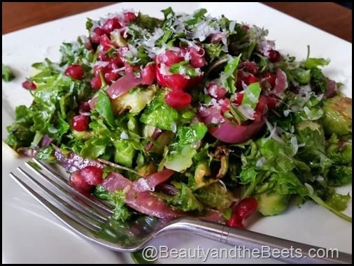 Fried Brussel Sprout Salad with Pickled Onions and Pomegranate Beauty and the Beets