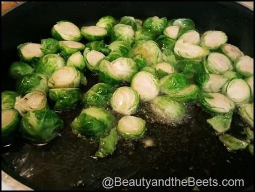 Frying Brussel Sprouts Beauty and the Beets