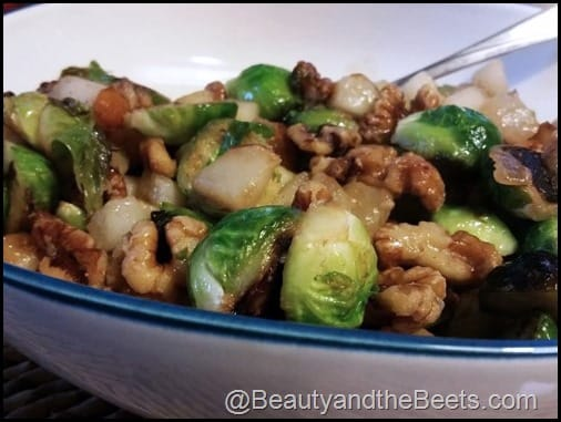 Brussel Sprouts, Pears and Walnuts Beauty and the Beets dot com