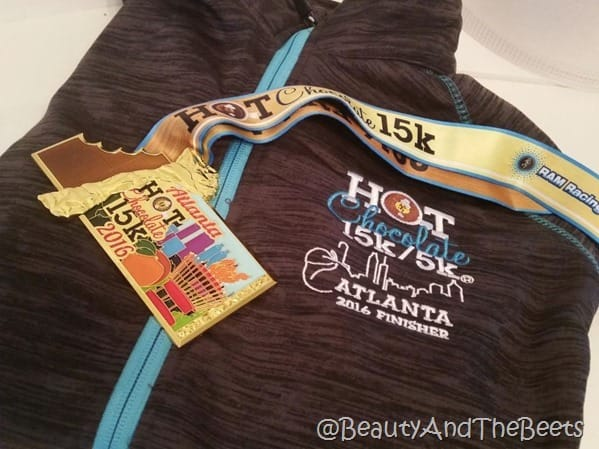 Hot Chocolate 15k Atlanta jacket and medal 2016 Beauty and the Beets