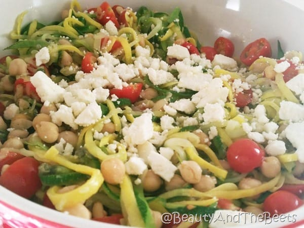 Mediterranean Zucchini Noodles with tomatoes and chickpeas Beauty and the Beets
