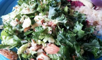 Kale and Shredded Brussels Sprouts Salad + WIAW