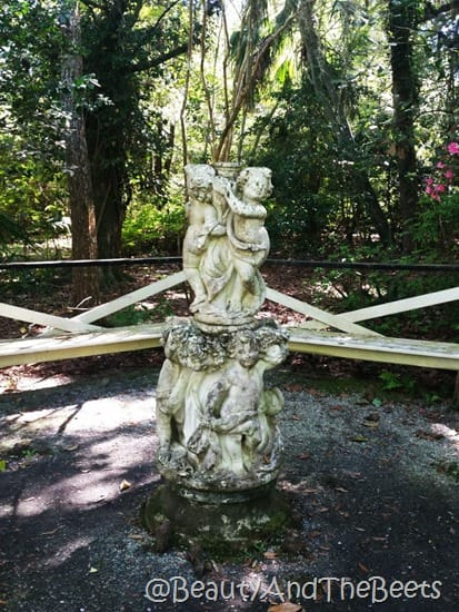 Magnolia Plantation statue gardens Beauty and the Beets