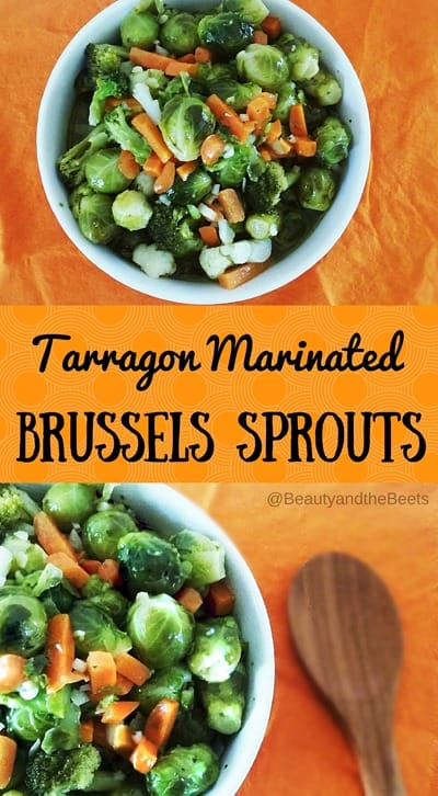 #SundaySupper Tarragon Marinated Brussels Sprouts Beauty and the Beets