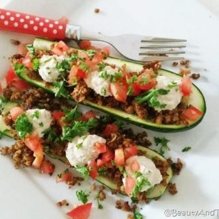 "Walnut Cauliflower ""Meat"" Zucchini Boats"