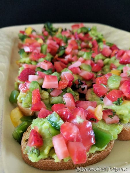 Strawberry Avocado Crostini #SundaySupper Beauty and the Beets