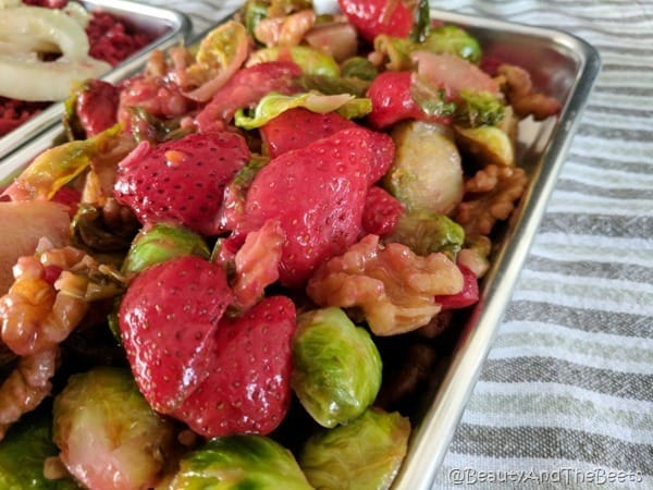 Sauteed Brussels Sprouts and Strawberries glossy Beauty and the Beets