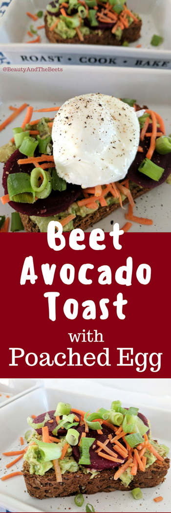 3 pictures stacked with a picture of a poached egg on avocado toast with the words Beet Avocado Toast with Poached Egg written in white with a beet colored background