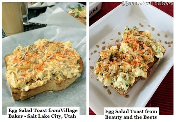 Two pictures of egg salad on toasts side by side on white plates
