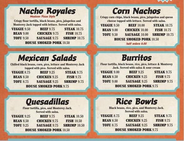 The menu at Junaita Greenberg's Nacho Royale