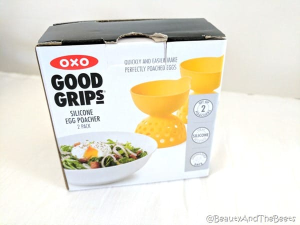 A small box iwth a picture of the OXO Good Grips Egg Poacher on it
