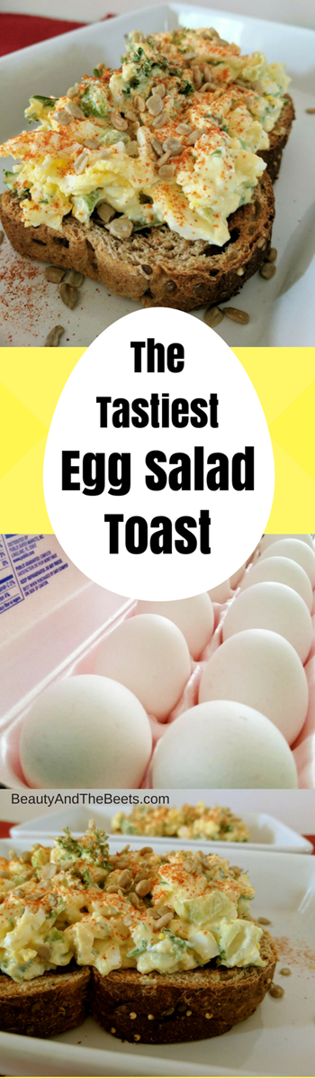 3 pictures of egg salad stacked under a graphic of egg salad toast