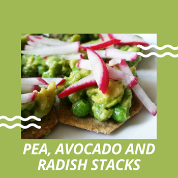 Beauty and the Beets Pea Avocado and Radish Stacks