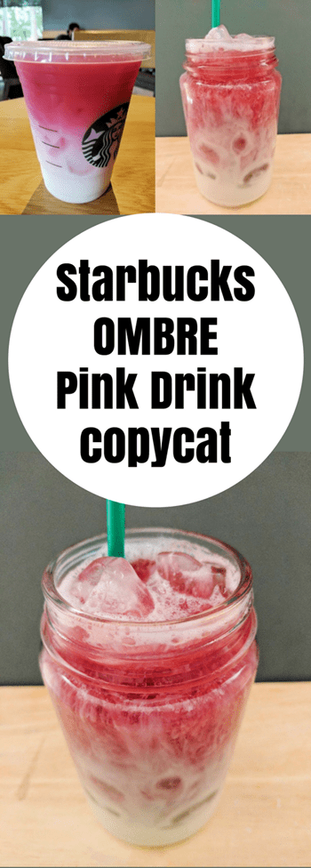a pinnable image of three pictures of the Starbucks Ombre Pink Drink from Beauty and the Beets