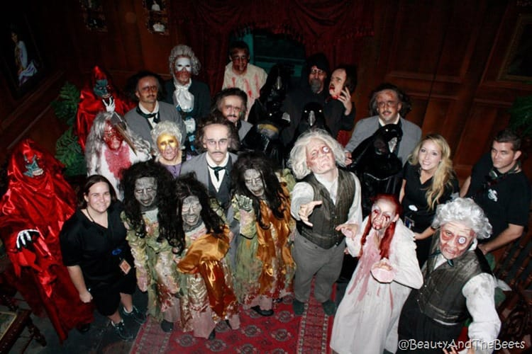 the characters in the Edgar Allan Poe house including zombies and devils