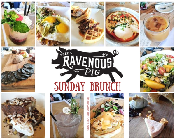 a collage of brunch dishes from The Ravenous Pig on a white background