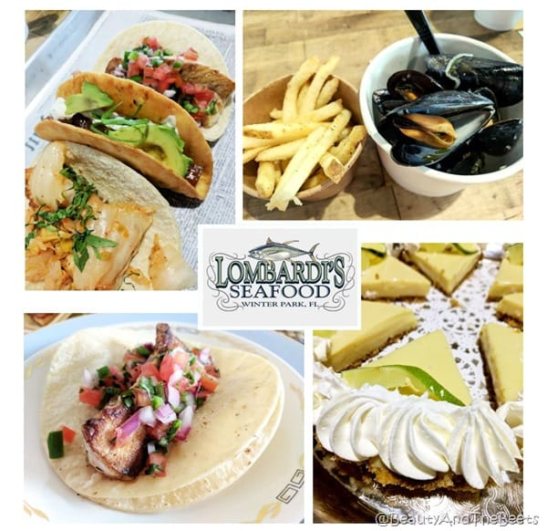 a collage of tacos, mussels and key lime pie with the Lombardi's Seafood logo in the middle