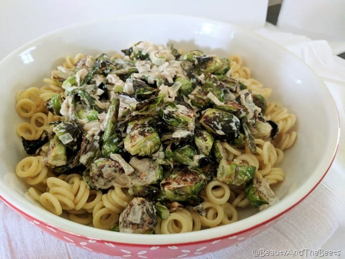 Creamy Brussels Sprouts and Asparagus Pasta Beauty and the Beet 1s
