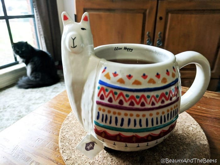 Llama coffee mug with Olive the kitten Beauty and the Beets