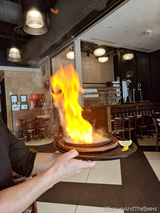 flaming saganaki sofra mediterranean grill beauty and the beets