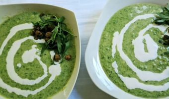 Chilled Pea Soup with Mint and Smoked Chickpeas