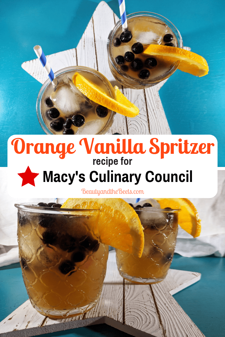 An easy recipe for an Orange Vanilla Spritzer inspired by Chef Dana Herbert for Macy's Culinary Council. Tastes like a creamsicle! #CulinaryCouncil