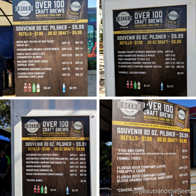 Sea World Craft Beer Festival beer boards Beauty and the Beets