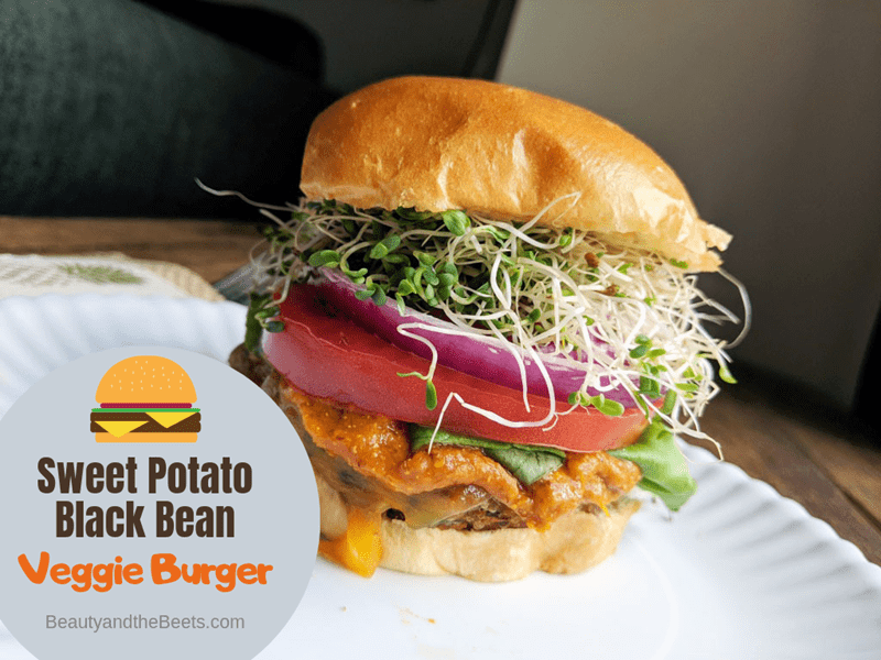 Sweet Potato Black Bean Veggie Burger Beauty and the Beets photo
