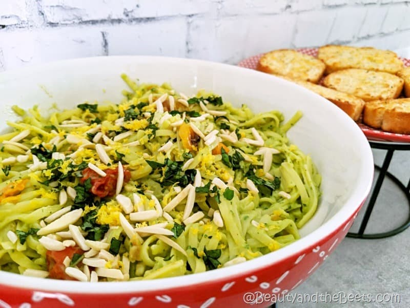 Avocado Pasta and garlic bread Beauty and the Beets