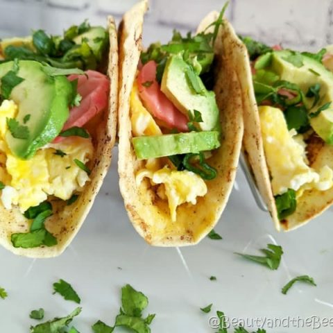 Breakfast Tacos with Warm Maple Syrup