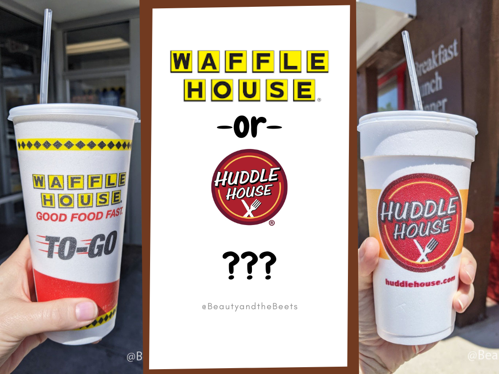 a graphic with a left side picture of a hand holding a Styrofoam cup with the Waffle House log on it and right side picture with a hand holding a Styrofoam cup with the Huddle House logo on it with the words Waffle House or Huddle House and a question mark in the center of the two photos