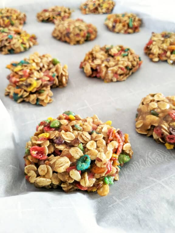 These Fruity Pebbles cereal breakfast cookies take 20 minutes from start to finish.