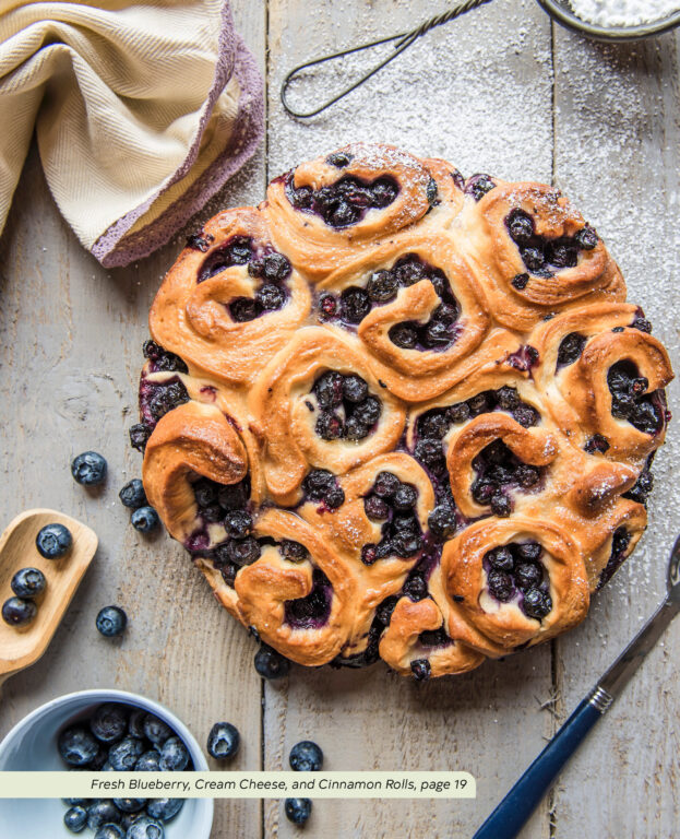 """Fresh Blueberry, Cream Cheese, and Cinnamon Rolls from the """"Quick and Easy Vegetarian Cookbook"""" Anna-Marie Walsh"""