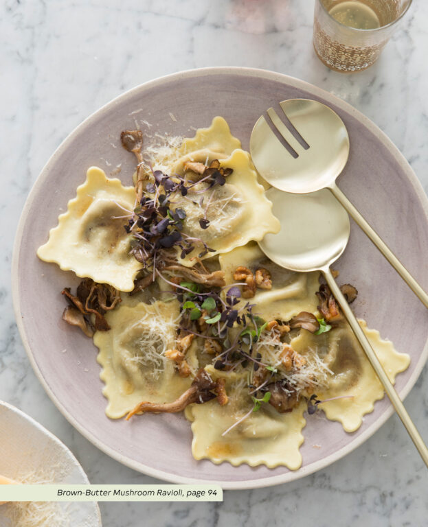 """Brown Butter Mushroom Ravioli from the """"Quick and Easy Vegetarian Cookbook"""" Anna-Marie Walsh"""