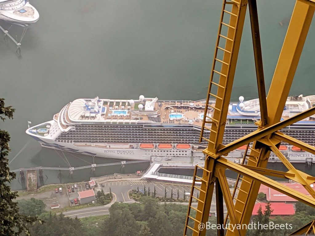 The Royal Princess cruise ships sits in the port of Juneau in Alaska